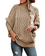 Womens Turtleneck Oversized Sweaters Plus Size Batwing Long Sleeve Chunky Cable