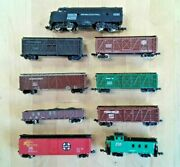 Mixed Lot Of 9 Vintage N Scale Model Train Cars... Locomotive, Caboose, Freight