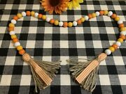 Candy Corn Colored Fall Wood Bead Garland For Tier Tray Decor - Garland Only