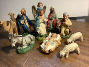 Vintage Nativity Set 11 Pc. Chalkware Made In Italy