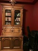 American Eastlake Victorian Secrétaire, Walnut, Hand Carved, Antique, Bookcase