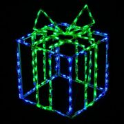 Christmas Decoration Led Light 3d Gift Box Package Outdoor Wireframe Yard Art