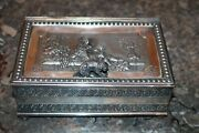 James W. Tufts Quadruple Silver Plate Jewelry Box Children And Dog Handle Antique