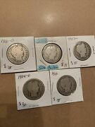 Silver Barber Half Dollars Lot Of 5 1906-d1906d 190719121904 90 Silver Coins