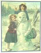 Framed Lithograph Victorian Girls With Snowman And Holly Berries Winter Wall Art