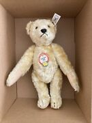 Steiff Jointed Blonde Yellow Mohair Squeaker Teddy Bear 1948 Replica 408328 9 In
