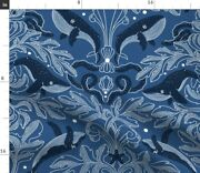 Nautical Damask Pattern Whales Vintage Stars Spoonflower Fabric By The Yard