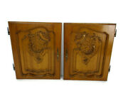 Pair Antique Hand Carved Wood Door Panels Reclaimed Architectural Salvaged
