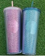 Starbucks Korea 2021 Limited Victory Pink + Green Bling Stud Cold Cup 710 Ml Dhl