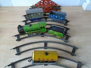 Mettoy Vintage Clockwork Loco And Tender 490 With Wagons And Bridge Runs Well