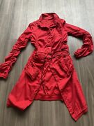 Stunning Rundholz Dip S/s 2021 Red Ruched Coat. Medium. Rare. Leather Tie Belt.