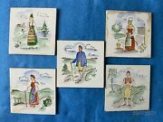 Vintage Hand Painted Bavarian Figures On Tiles Set Of 5 That Seem Quite Old
