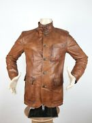 Belstaff Gold Label Leather Jacket Brown Menand039s Size L Blazer Buttons Very Rare