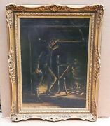 The Letter Antique Oil Painting On Panel Crawford Slack Canadian 1855-1927