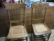 Antique Oak Wood Caned Seat Dining Room/ Kitchen Chairs Pair