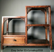 18.4 Old Chinese Dynasty Huanghuali Wood Carved Drawer Stand Shelf Furniture