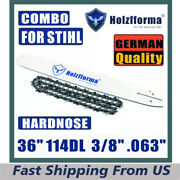 36 Inch 3/8 .063 114dl Holzfforma Bar And Chain For Stihl Ms440 044 Ms441 Ms460