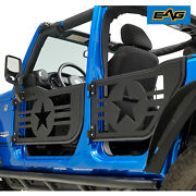 Eag Military Steel Tube Door With Mirror Pair Fit For 07-18 Jeep Jk Wrangler 4dr