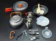 Camping Outdoor Hiking Picnic Cookware Set With Pan Pot Cup Kettle Bowl Utensils