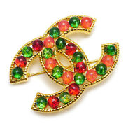 Brooch Pin Badge Cc Red Green Multi Color Beads Coco Gold Gp B20k Auth