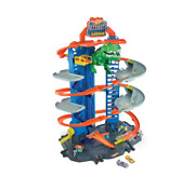 Hot Wheels City Ultimate Garage Playset With 2 Toy Cars And Robo-dinosaur New