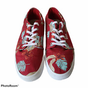 Off The Wall Cush Pro Shoes Mens Size 12 Flower Leaf Print Red Skateboard