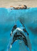 Abstract Jaws Movie Poster Great White Shark Original Pop Art Painting 12x16