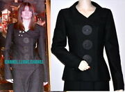 02a Iconic Vintage Black Jacket Blazer With Giant Leather Buttons40rare