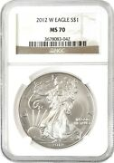 2012-w Burnished American Silver Eagle S1 Ngc Ms70