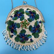 Vintage Womens Coin Purse White Multicolor Floral Round Clasp Beaded Fringe S