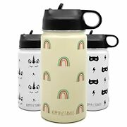Kids Water Bottle Vacuum Insulated Stainless Steel Thermos Straw Lid Soft Spout
