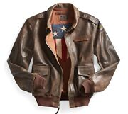 Rrl 1940s Inspired Distressed Leather A-2 Flight Jacket- Xl