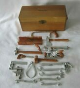 Vintage 18 Piece Marx Pocket Tools Child's Toy Tool Set With Hobby Tool Wood Box