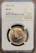 1964-p Kennedy Half Dollar - Ngc Ms67 - Rainbow Toned Rare Only 20 Higher