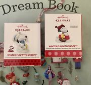 Hallmark Winter Fun With Snoopy 2013 And 2017 - Lot Of 2 Ornaments Peanuts® Gang