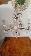 Antique Vintage French Brass 5 Lights Lead Crystal Chandelier Made In Spain Old