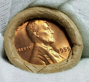 Gem++ Bu++ 1955 P Lincoln Wheat Penny Straight Date Roll 50 Coins Original Roll2