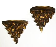 Pair Vintage Neoclassical Wall Sconce Shelves. Wood. Gold Finish. Small Size.
