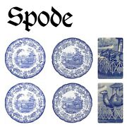 🆕️spode Blue Room Collection Zoo 4 Dinner Plates Rhino Camel Floral England