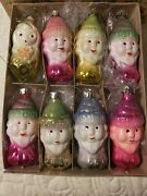8 Vintage Russian Snow White And Seven Dwarfs Glass Christmas Ornaments