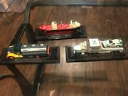 Lot Of 3, Mini Hess Trucks. Exc. Cond. 2000, 2001, 2002. On Display Stands