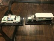 Lot Of 2, Mini Hess Trucks. Exc. Cond. 2003 And 2006. On Display Stands