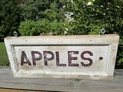 Original Vintage 2 Sided Hand Painted Wooden Sign Advertising Apples Herbs