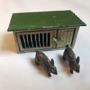 Vtg 1920-30s John Hill And Co Lead Tin Toy Rabbits 2 And Hutch Farm Animal England