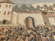 Large Vintage Peruvian Handwoven Wool Tapestry Wall Hanging Village Scene Kusy