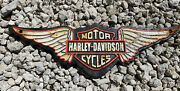 Vintage Harley Davidson Motorcycle Cast Iron 16 Metal Wing Plaque Gas Oil Sign