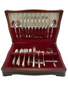 Vintage Oneida Community Stainless Morning Star 55 Pc Flatware Serving Set And Box