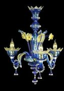 Chandelier Ceiling Glass Of Murano With Gold 24k Handmade In Italy 3 Lumi