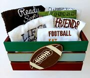 Football Towels Lot W/crate Bath Kitchen Bar Tailgate Party Unique Quality Gift