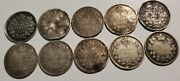 Lot Of 10 Canadian Silver 5 Cent Coins Damaged 5 Cents Canada Mix Lot